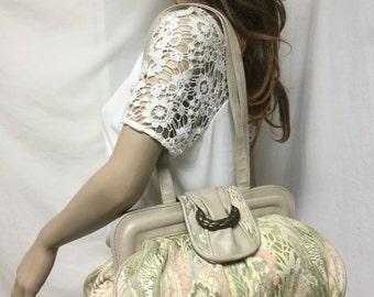 Tapestry bag,tapesrty purse,bags ,Purses, Faux Leather, Trim, Shoulder Bag,tan