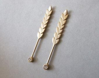 Gold Stud Earrings - wedding jewelry , wheat stud earrings , wheat earrings , long gold earrings , women's earrings , pearl earrings