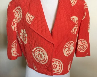 Louis Feraud Quilted Red Asian Bolero Jacket 80's