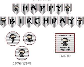 Ninja Birthday Party, Ninja Birthday Decorations, Ninja Party Decorations, Ninja Decorations, Ninja Party Package - DOWNLOAD