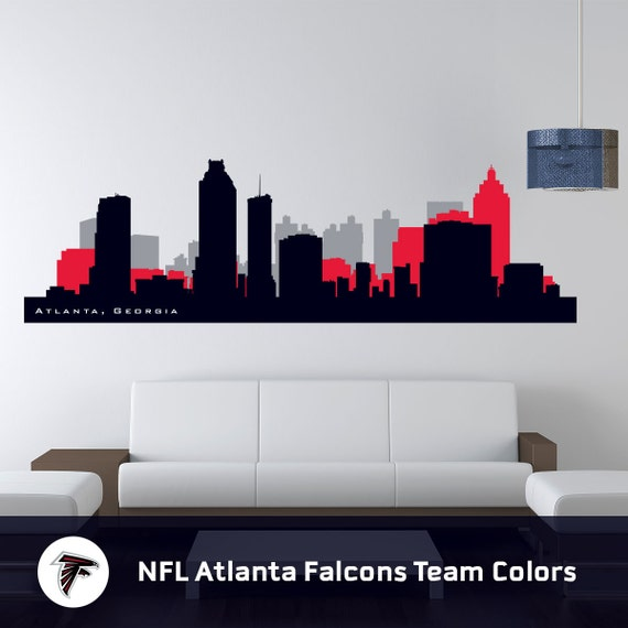 skyline atlanta georgia wall decal cityscape art print. Black Bedroom Furniture Sets. Home Design Ideas