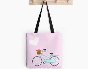 Blue Bicycle Tote Bag. Pink and Blue Tote Bag. Flowers Handbag.