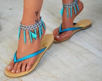 Leather women flip flops, leather sandals, V strap sandals, thong sandals, boho sandals, tirquoise sandals