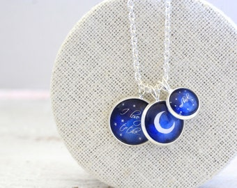 I love you to the moon and back, Moon Charm Necklace, Half Moon, Relationship Necklace, Gift for Her, Gift for Girlfriend, Gift for Mother