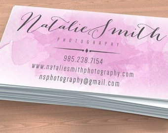 Business Card  - NATALIE SMITH - Premade business card, photography business card, watercolor, calligraphy