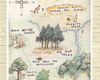 100 acre wood map etsy