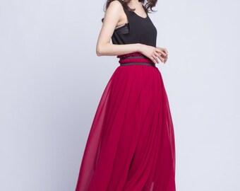 Burgundy Maxi Skirt Plus Size Wedding Skirt Chiffon Long Skirts Beautiful Elastic Waist Floor Length Summer Skirt (201) , 91#
