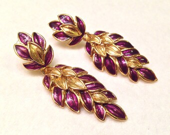 Vintage TRIFARI Violet Purple Enamel Cascading Leaf Earrings By Diane Love- WOW!