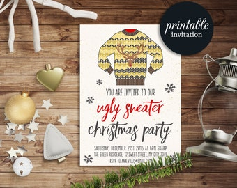 Ugly Sweater Invitation Printable, Ugly Sweater Party Invitation, Christmas Invitation, Holiday Party Invitation, Christmas Party Invitation
