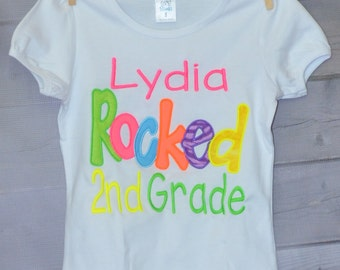 """Personalized """"Your Child's Name"""" Rocked 2nd Grade Kindergarten 1st 2nd 3rd Grade Applique Shirt or Onesie Girl or Boy"""