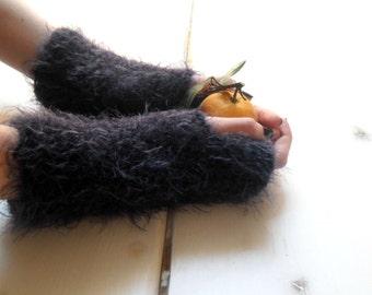Arm warmers, faux fur handwarmers, long arm warmers, fingerless mitts