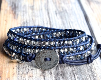 Wrap Bracelet, Sparkly Blue and Silver Wrap Bracelet, Beaded Wrap Bracelet, Leather Wrap Bracelet, Beaded Leather Wrap Bracelet