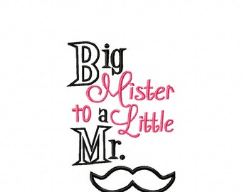 Big Mister to a Little Mister - Mustache 5x7 - Embroidery Design -   DIGITAL Embroidery DESIGN