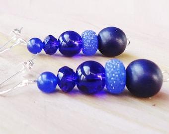 Indigo Beaded Earrings//Blue Beaded Earrings
