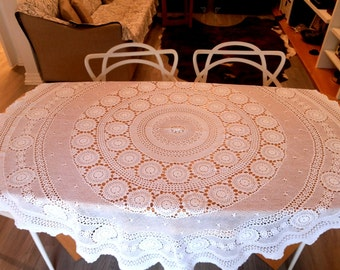 Crochet table cover, white lace tablecloth and 8 napkins, home decor crochet set, round table cover 63'', heirloom piece, white table linens