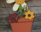 Flower Pot with a large daisy and two smaller daisies, hand cut, hand painted, fun and whimsical design that would make a perfect gift