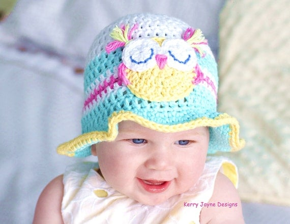 CROCHET HAT PATTERN Fun in the sun Baby hat pattern Baby Owl