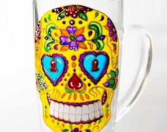 Skull Cup, Day of the Dead Wedding Gift, Dia de los Metros Mug, Hand Painted Sugar Skull