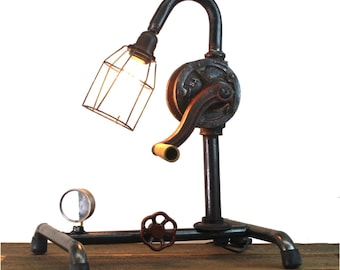 Steampunk Industrial Factory Style Crank Table Lamp with Real Old Antique Parts