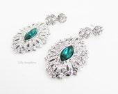Vintage Style Emerald Green Rhinestone and Crystal Earrings Green Crystal Earrings Emerald Green Earrings Silver and Green Earrings