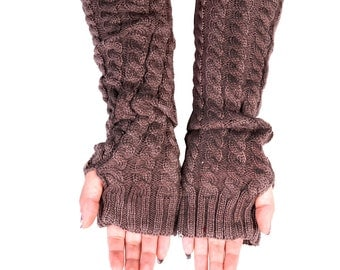 Fingerless Gloves, Long Arm Warmers, Cable Knit Long Gloves (Brown)