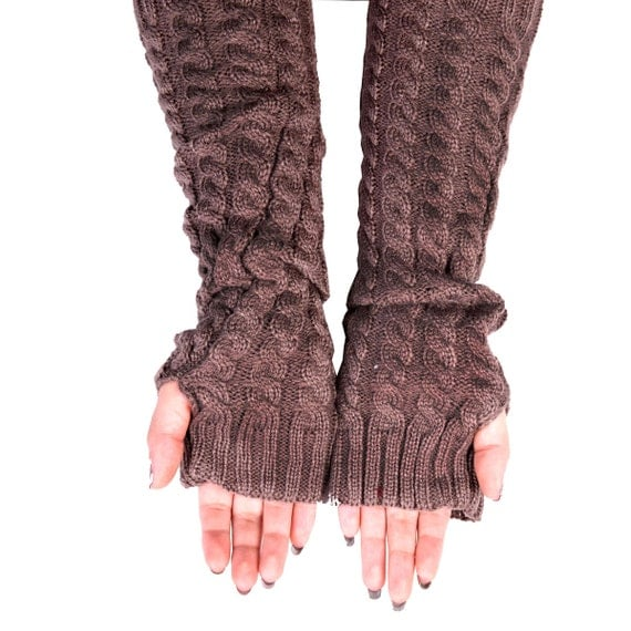 Fingerless Gloves Long Arm Warmers Cable Knit Long Gloves