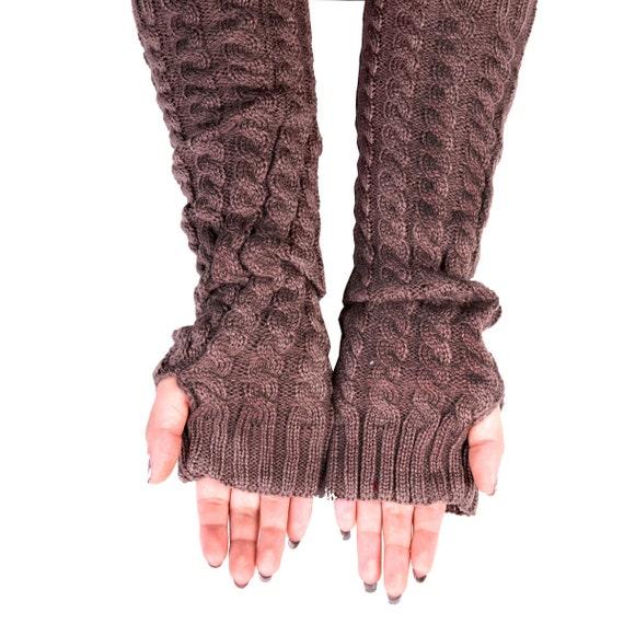 Long Arm Warmers Knitting Pattern : Fingerless Gloves Long Arm Warmers Cable Knit Long Gloves