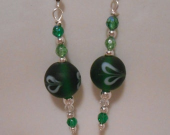 Green Glass Earrings Perfect for St. Patrick's Day Item No. 95
