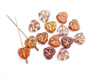 Autumn Decorative Leaf Czech Glass Beads, (8 pcs) 13x12mm Fall Leaf Beads, Czech Glass Leaf Beads, Leaf Beads, Orange Leaf Beads LEA0081