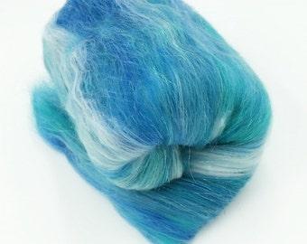 Hand carded, spinning, felting, fiber batt. 2 oz - Blue Malachite