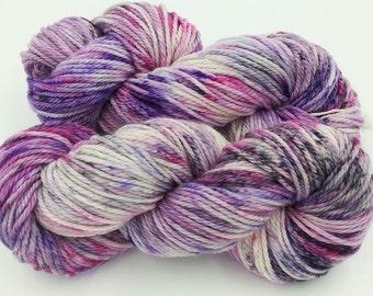 Superwash merino wool Aran yarn, Hand Dyed speckled 100g