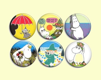 """Moomin - pinback badge buttons or magnets 1.5"""""""