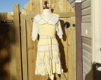 BB Yellow Tennis Dress made from Upcycled Sweaters in size Large