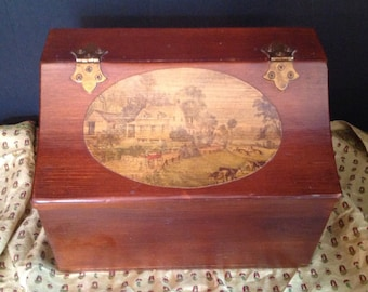 vintage wood storage keepsake box 1800's farm scene decal
