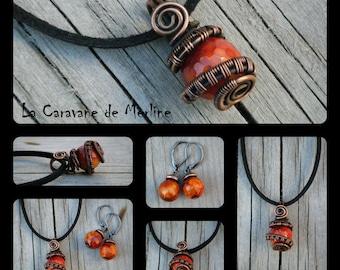 Antique Copper & glass pendant