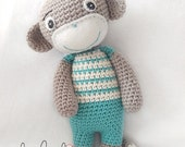 Crochet Monkey, Amigurumi Soft Toy, Monkey Toy, Personalised Light Teal Monkey