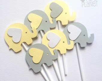 Elephant Cupcake Toppers Pastel Yellow & Light Gray. Baby shower, first birthday, party favors, treats. Unisex, gender reveal. Cupcake pick.