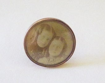 Victorian sepia tone children photographic portrait mourning brooch pin back