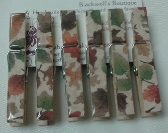 Set of 6 Fall leaves clothes pin magnet clips. Decoupaged clothes pins. Refrigerator magnets.