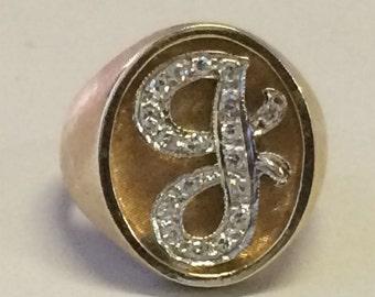 "VINTAGE 14K Yellow Gold Genuine Diamond ""J"" RING Size 7.5"