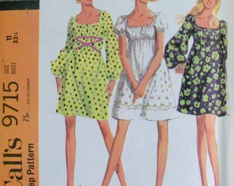 Vintage 1969 Dress Pattern McCall's 9715 Juniors Size 11