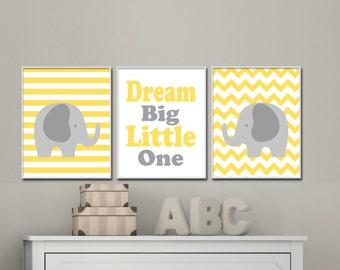 Yellow and Grey Baby Elephant Nursery Art Set.  Baby Boy or Baby Girl Nursery Prints. Dream Big Little One. Suits Yellow Grey Nursery.S-279