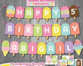 Ice Cream Birthday Party Banner, Printable Ice Cream Party Banner, Ice Cream First Birthday, Popsicle Party, Summer Ice Cream Birthday Party