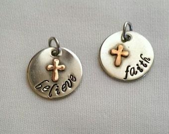 Believe Faith Inspirational Copper Cross Pendant Necklace - Soldered Copper Cross