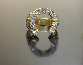 14K Yellow Gold Horseshoe Diamond Ring - 14K Gold Men's Diamond Horseshoe Ring - 14K Gold Horseshoe Men's Diamond Ring - 14K Diamond Ring
