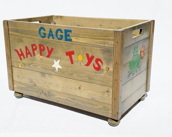 Happy Toy Box, Engraved Solid Wood Toy Box, Personalized Gift, Kids Toddler Furniture, Birthday, Baby Shower, Christmas Gift, Reclaimed Wood
