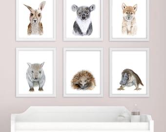 Baby Animal Prints Nursery Art Boy & Girl Room by TinyToesDesign