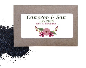 Flower seed favors - floral wild poppy seed favors for wedding or shower - love is blooming