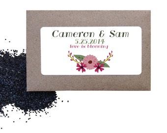 Wedding flower seed favors - 25 floral wild poppy seed favors for wedding or shower - love is blooming