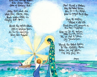 Mary Star of the Sea, Ave Maris Stella Catholic Prayer, Print of Watercolor, gift for baptism, nursery, encourage, sympathy, sailing, boats